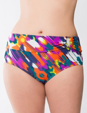 Island print swim hipster