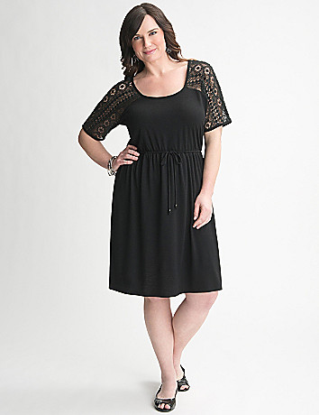 Crochet Yoke Tee Dress by Lane Bryant
