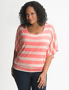 Metallic stripe banded bottom top