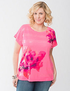 Sequin stripe floral tee by Lane Bryant