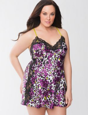 Animal print lace side chemise
