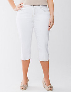 Embellished white jean capri by Lane Bryant