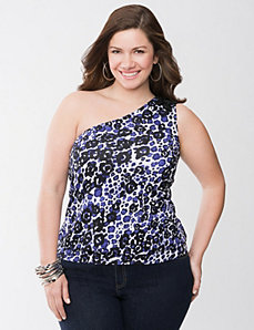 Animal print one shoulder top by Lane Bryant