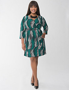 Printed wrap dress by Lane Bryant