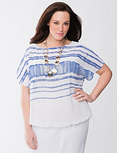 Lane Collection striped chiffon top