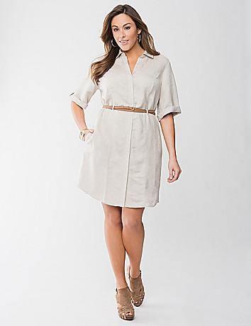 Full Figure Linen Dress by Lane Bryant