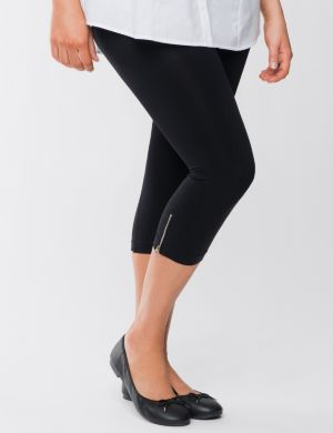 Control top capri leggings with zipper