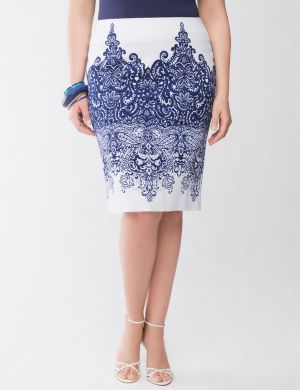 Lane Collection printed pencil skirt