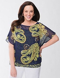 Lane Collection paisley layered top by Lane Bryant