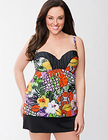 Tribal floral swim tank with built-in balconette bra