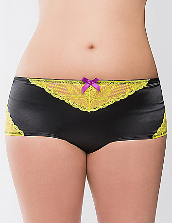 Satin & lace boyshort panty