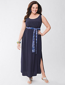 Lane Collection tie back maxi dress by Lane Bryant
