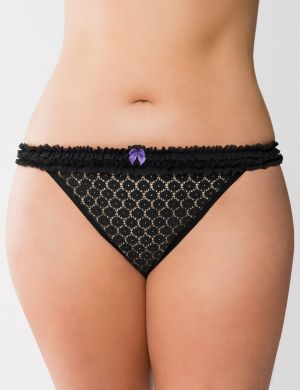 Ruffled lace thong panty