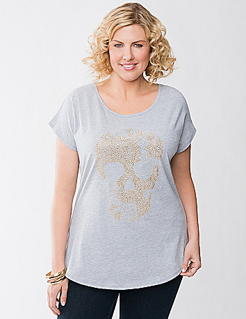 Plus Size Embellished Skull Tee by Lane Bryant
