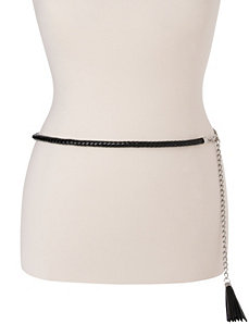 Plus Size Braided Patent & Chain Belt by Lane Bryant
