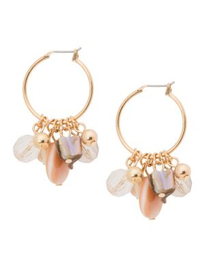 Shell cluster hoop earrings by Lane Bryant