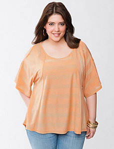 Striped cold shoulder top by Seven7