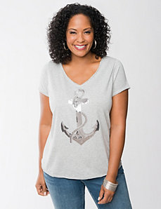 Sequin anchor tee by Seven7