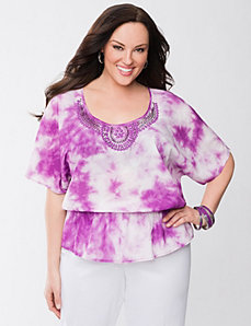 Tie dye embellished top