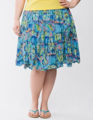Conversation print skirt