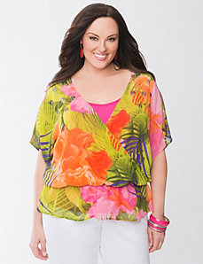 Sequin floral drama top