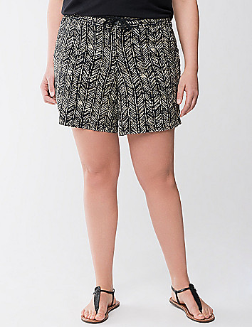 Tribal print linen short