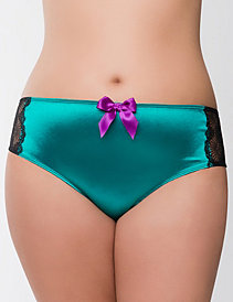 Appliqued satin cheeky panty