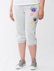 Floral French terry capri