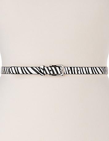 Zebra skinny belt
