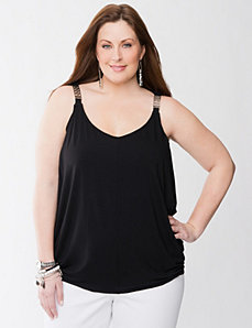 Tank with hardware straps by LANE BRYANT