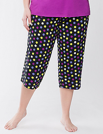 Polka dot cropped sleep pant
