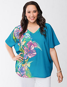 Studded hibiscus top by LANE BRYANT