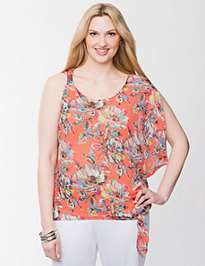 One shoulder chiffon top by LANE BRYANT