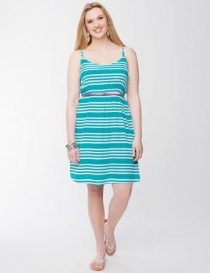 Striped tank dress with belt