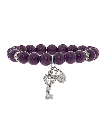 Semi precious bracelet with key charm by Lane Bryant