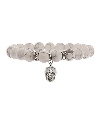 Semi precious bracelet with skull charm by Lane Bryant