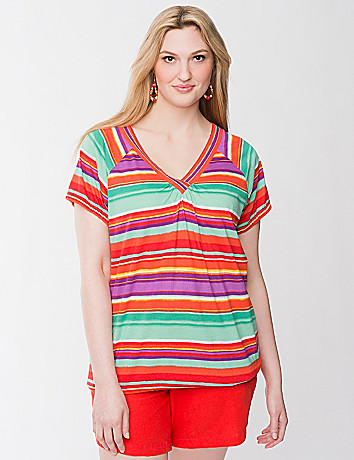 Beaded striped tee