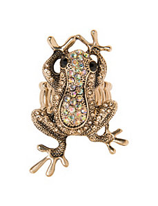 Rhinestone frog ring by Lane Bryant