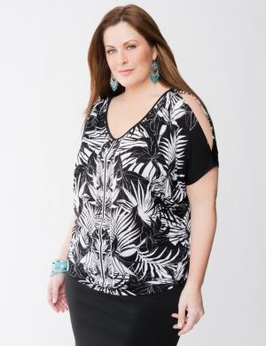 Palm print v-neck top