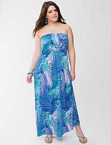 Draped strapless maxi dress