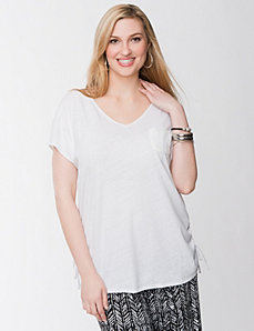 Lace back linen tee by LANE BRYANT