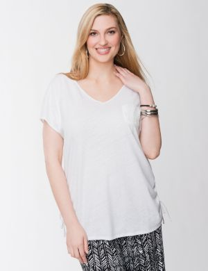 Lace back linen tee
