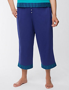 Striped trim cropped sleep pant