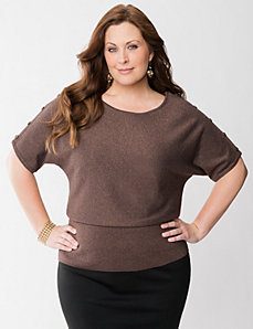 Metallic dolman sweater