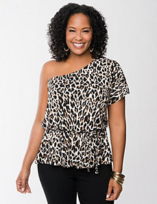 One shoulder animal print top