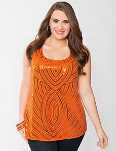 Full Figure Patterned Sequin Tank by Lane Bryant