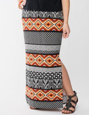 Tribal print column skirt
