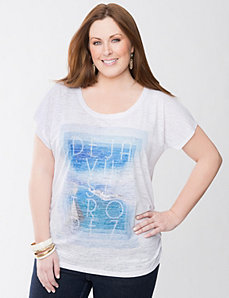 Plus Size Déjà Vu Shirred Tee by Lane Bryant