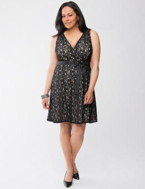 Lace surplice dress