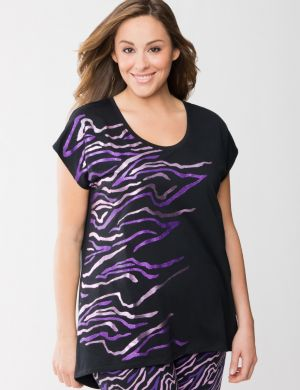 Foiled zebra sleep tee